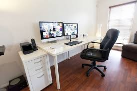 ikea linnmon adils computer desk setup with drawer for dual