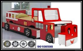 Fire Engine Bed Wood Kid U0027s Fire Engine Car Bunk Bed With Desk And Chest Chair