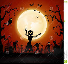 halloween zombie background halloween background with zombie walking in graveyard stock vector