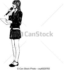 vector clipart of with microphone a black and white