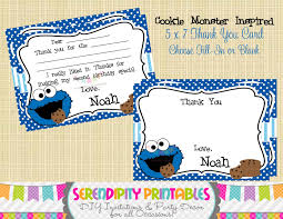cookie monster baby shower cookie monster inspired collection printable thank you card