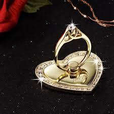 metal crystal ring holder images Luxury rotatable love heart shape crystal metal ring holder hook jpg