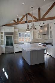 white kitchen cabinets with wood beams exposed wood beams transitional kitchen christine