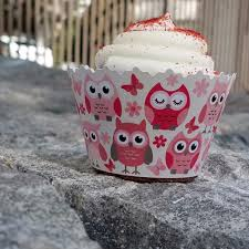 baby shower pink owls owls butterflys cupcake wrappers baby