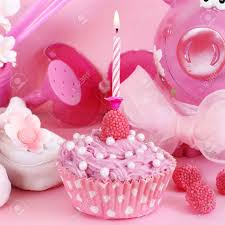 cupcake and baby decoration in pink color stock photo picture and