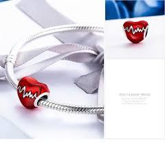 sterling silver love heart bracelet images 925 sterling silver love heart ecg red enamel beads fit women jpg