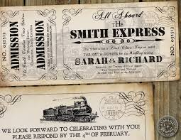Wedding Invitation Acceptance Card Steampunk Inspired Train Ticket Invitation For Wedding Or Birthday