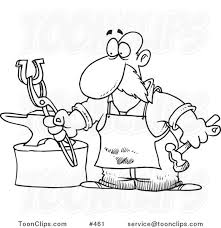 cartoon coloring page line art of a blacksmith working on a