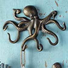 themed wall hooks swimming octopus key hook wall hanger coastal nautical sea llife