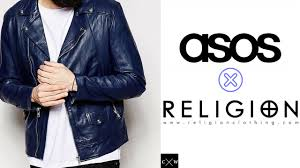 safest motorcycle jacket leather biker jacket men blue asos x religion real leather