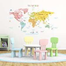 amazon com decowall dlt 1616n colourful world map kids wall