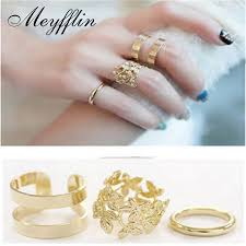 buy fashion rings images 3pcs 2017 fashion rings for wome gold silver leaf punk finger midi jpg