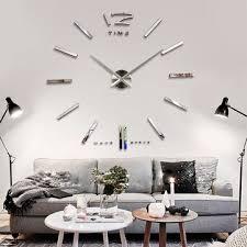 Large Mirrored Wall Clock Big Large Diy Frameless Wall Clock Kit 3d Mirror Decoration Silver