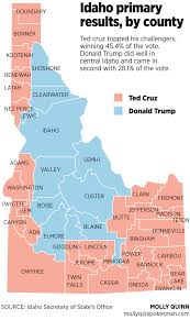 Idaho County Map Turnout High In Idaho U0027s First Early Presidential Primary The