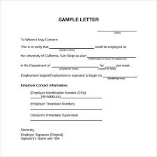 Work Certification Letter Sle To Whom It May Concern Employment Verification Letter Sample How To Format A Cover Letter