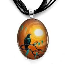 moss ribbon bird pendant necklace autumn zen tree branches