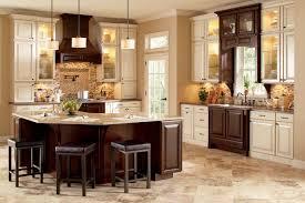 cream colored kitchen cabinets with dark island kitchen decoration