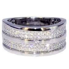 mens diamond wedding band wide mens wedding band ring 14k white gold 0 88ct diamonds comfort fit