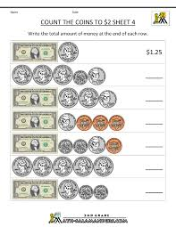 free money worksheets count the coins to 2 dollars 4 2nd grade
