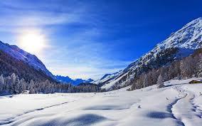 wallpaper blue sky winter mountains snow 4k nature 5629