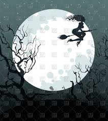 background of halloween frame with flying witch on broomstick on the background of large
