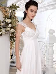 ivory chiffon lace v neck empire waist wedding dress milanoo com