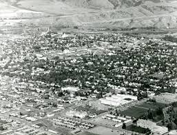 aerial view of montana state college campus with linfield hall in