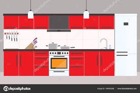 cuisine dessin animé intérieur de cuisine du dessin animé avec frigo four et