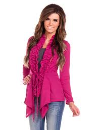 fuchsia ruffle cardigan affordable womens boutique clothes