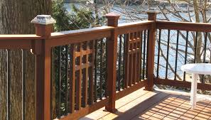 mission wood mixed with metal balusters deck railing ideas