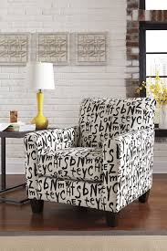 5390122 accent chair and script pattern upholstery