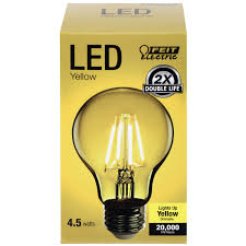 yellow led light bulbs a19 clear glass yellow led bulb feit electric