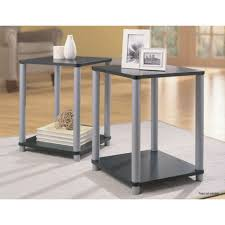 end table set of 2 home end tables in black and silver 2 table set