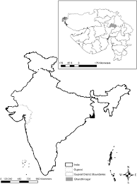 India State Map by Map Of India Showing Location Of The State Of Gujarat Inset