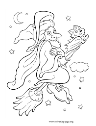 coloring page of a bat halloween witch and bat flying on broom on halloween night