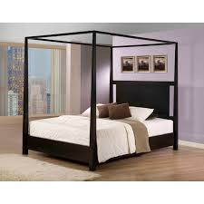 bedroom modern black hardwood canopy bed which combined with