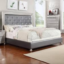 King Upholstered Bed Frame Glam King Upholstered Panel Bed With Rhinestone Accent Rotmans