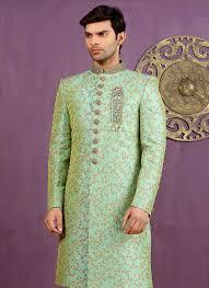 buy pista green art silk achkan sherwani achkan sherwani online