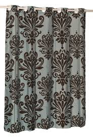 Chocolate Brown And Blue Curtains Damask Fabric Hookless Shower Curtain Spa Blue Chocolate