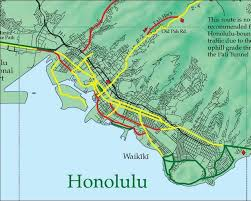 map of waikiki highways bike map oahu