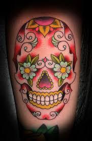 flower sugar skull tattoos design idea