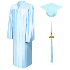 blue cap and gown shiny light blue graduation cap gown and tassel junior high