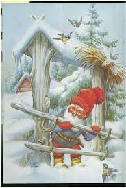 gnome dwarf is closing the gate birds are looking signed by