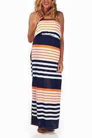 navy blue orange striped strapless maxi dress