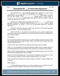 create an amendment to a partnership agreement legal templates