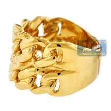 mens ring mens solid miami cuban link ring real 10k yellow gold