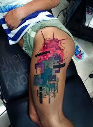 abstract watercolor on woman u0027s leg best tattoo design ideas