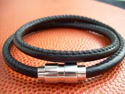 leather wrap bracelet men images Premium stitched nappa leather double wrap mens leather bracelet jpg