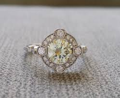 moissanite vintage engagement rings estate halo lemon yellow canary moissanite antique