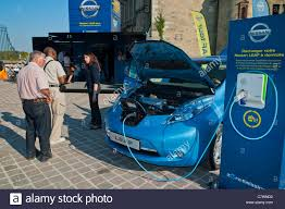 nissan leaf charger type electric car charging home stock photos u0026 electric car charging